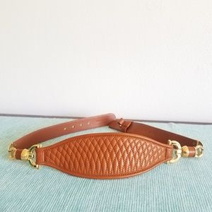BALLY English Tan Leather and Gold Accent Belt